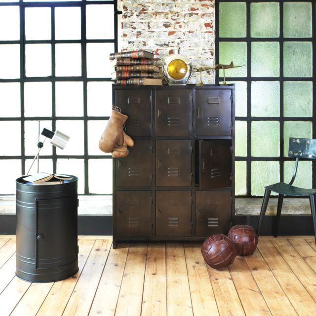 made in meubles table de chevet bidon noir m tal 1 porte mkb n pas cher achat vente lit. Black Bedroom Furniture Sets. Home Design Ideas