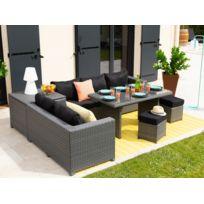 Les Essentiels By Dlm - Salon de jardin 7 places : canapé d'angle + 2 poufs + table à manger + table coffre résine tressée Tensho