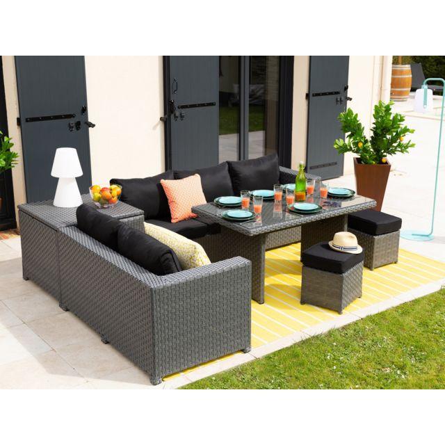 Les Essentiels By Dlm - Salon de jardin 7 places : canapé d\'angle + ...