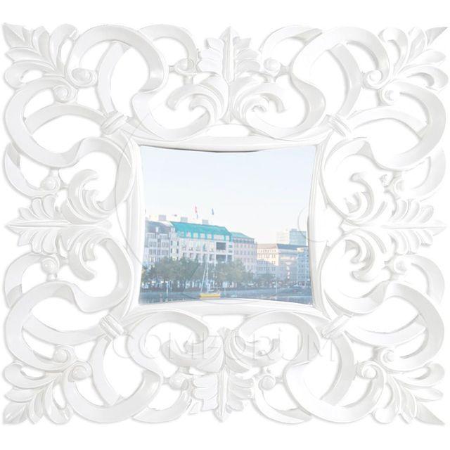 Comforium Miroir mural carré coloris blanc design antique