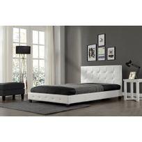 Rocambolesk - Magnifique Lit Palace 160x200 cm - Cadre de lit en simili cuir capitonné / Blanc