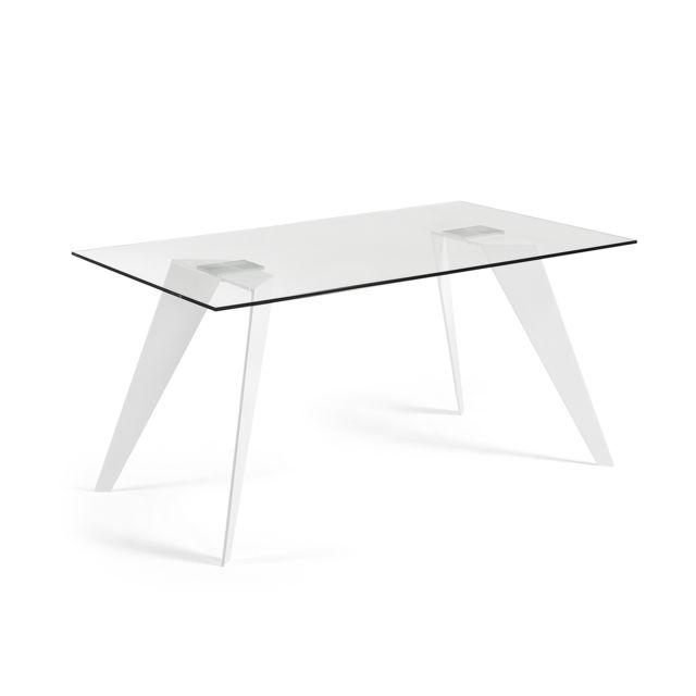 Kavehome Table Koda 160x90 cm, Eopxy blanc et verre
