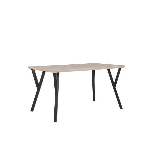 BELIANI Table 140 x 80 cm bois clair et noir BRAVO - marron