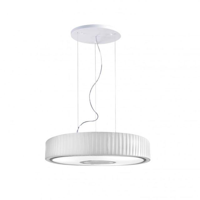 Leds C4 Suspension Spin, Acier Textile et Ppma, chrome et blanc, 75 cm