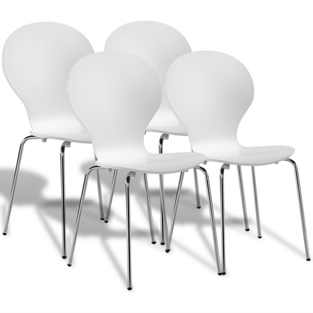 Vidaxl 4 chaises papillon de salle manger blanc - Salle a manger papillon but ...