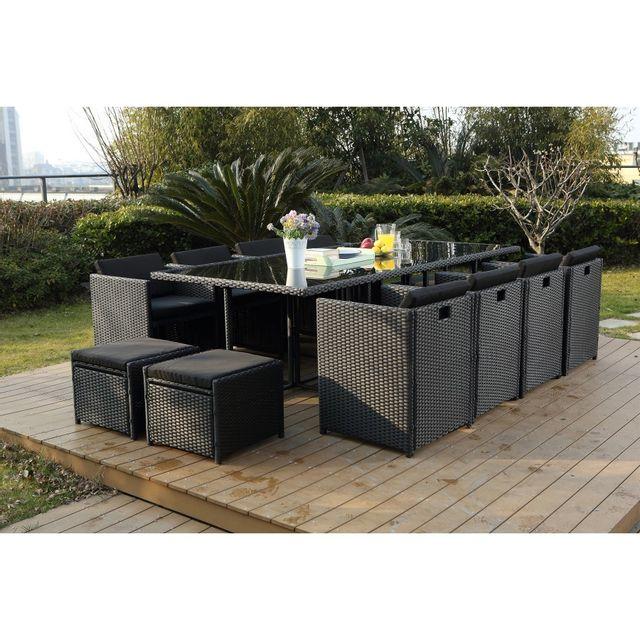 rocambolesk magnifique salon de jardin florida 12 noir. Black Bedroom Furniture Sets. Home Design Ideas