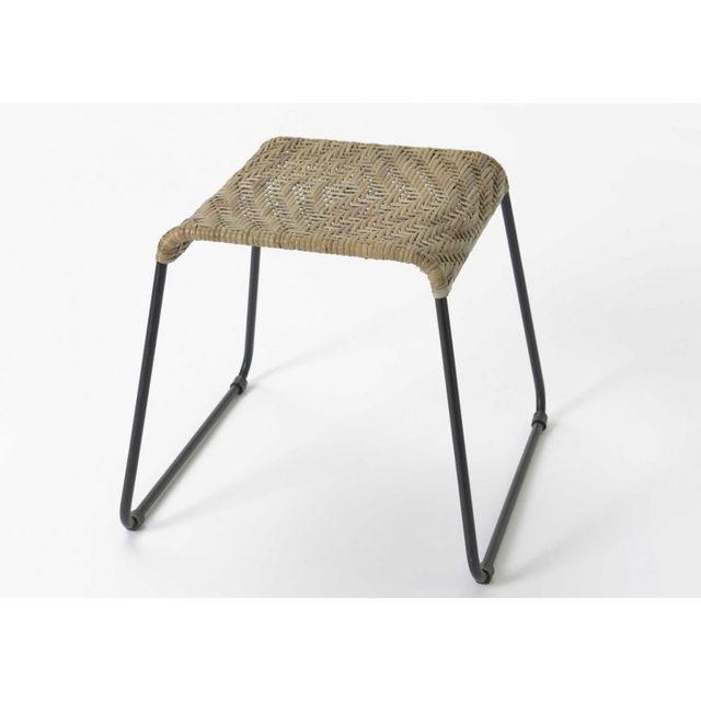 amadeus bout de canap rotin et m tal noir 40cm x 40cm x 35cm pas cher achat vente. Black Bedroom Furniture Sets. Home Design Ideas