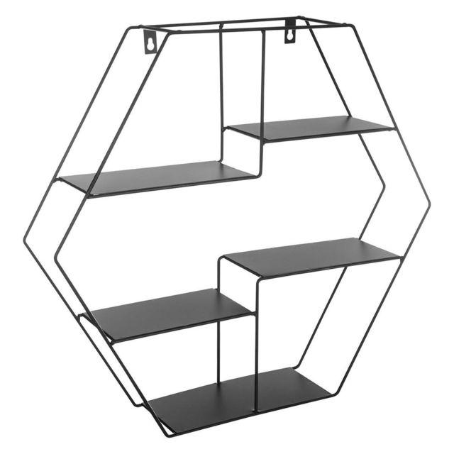 étagère Murale En Métal Hexagonale Noir