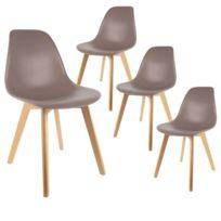 Zoli99 Sven Lot de 4 chaises taupes pas cher Achat