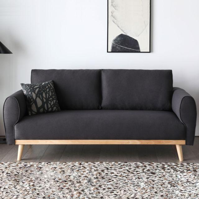 Concept Usine Joplin gris foncé : Canapé scandinave 3 places avec pieds bois