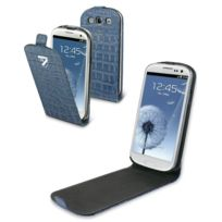 Cremieux - Etui à rabat slim croco bleu navy pour Samsung Galaxy S3 i9300