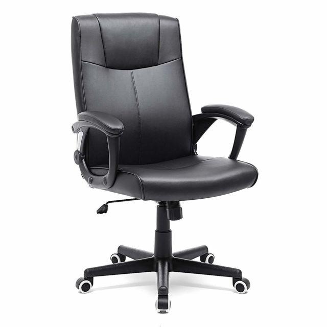 songmics - fauteuil de bureau, revêtement en pu résistant à l'usure