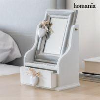 Marque Generique - Boîte à bijoux vintage en bois avec miroir et tiroir - Rangement bijou