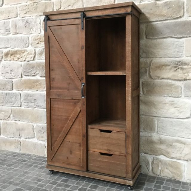 chemin de campagne meuble armoire bahut tiroirs bois fer style industriel campagne 166 cm. Black Bedroom Furniture Sets. Home Design Ideas