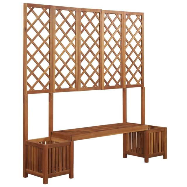 vidaxl jardini re avec banc et treillis bois d 39 acacia. Black Bedroom Furniture Sets. Home Design Ideas