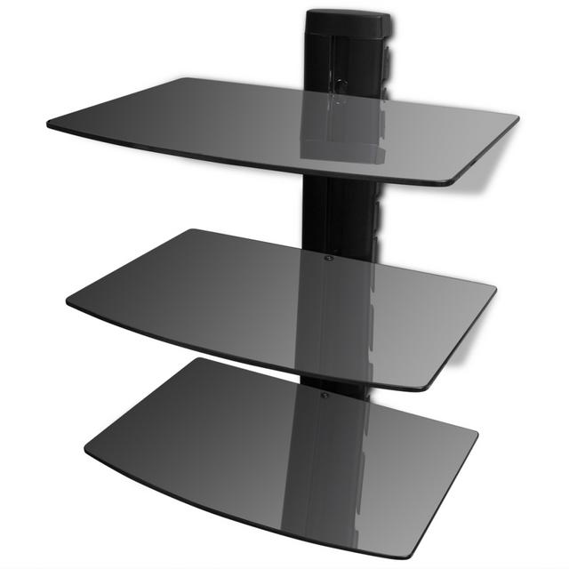 Vidaxl Étagère murale noire à 3 tablettes en verre pour Dvd