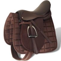 Rocambolesk - Superbe Set de selle équitation 17,5 en cuir véritable 18 cm 5 en 1 brun Neuf