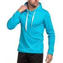 BLZ Jeans - Sweat homme bleu turquoise à capuche