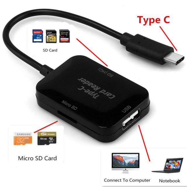 Cabling - Adaptateur Usb C male vers Usb 2.0 + lecteur de carte Sd
