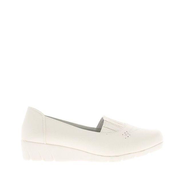 6ab0413d272 Chaussmoi - Chaussures femme blanches confort avec dessus élastiqué ...