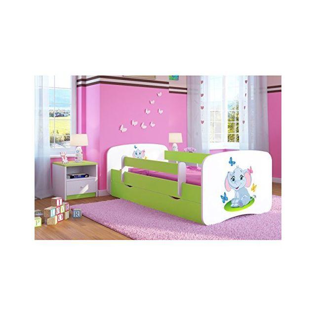 carellia lit enfant elephant 70 cm x 140 cm avec barriere de securite sommier tiroirs. Black Bedroom Furniture Sets. Home Design Ideas
