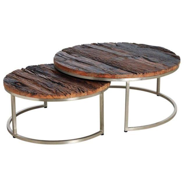 AUBRY GASPARD Tables gigognes en bois massif et acier Lot de 2