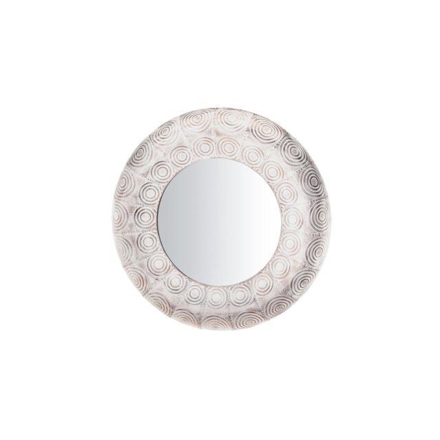 BELIANI Miroir rond blanc et cuivré KOLLAM - argent