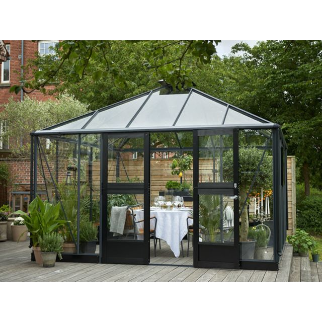 Habitat et jardin serre verre oasis 13 5 m 3 68 x 3 68 x 3 07 m pas cher achat vente - Serre de jardin carrefour ...