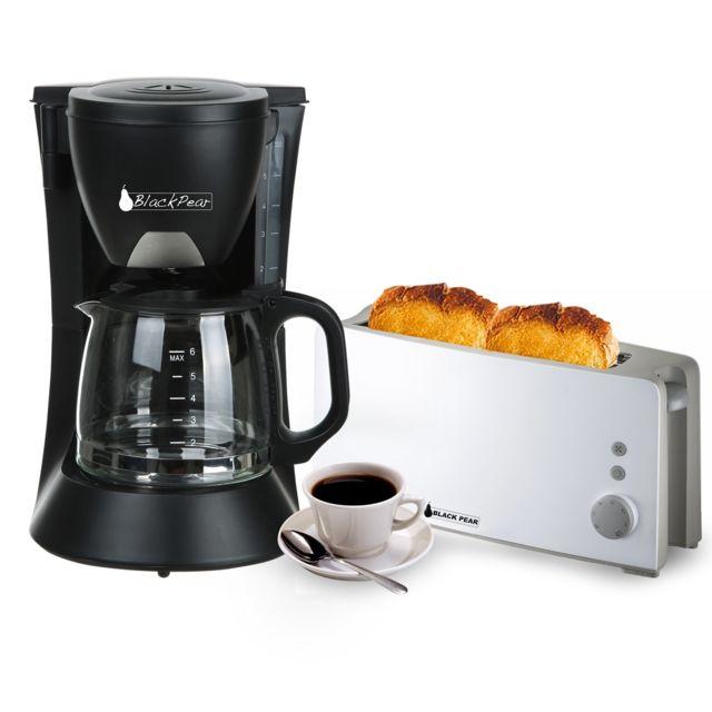 Blackpear Cafetière 6 tasses 650W noire + Grille pain 1 longue fente blanc 1000W