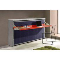 Inside 75 - Armoire lit transversale City grise et bleue mat couchage 90/190 cm bureau intégré rouge mat