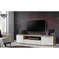 Asm-mdlt - Grand meuble Tv Ontario en chêne et blanc de haute brillance 190x43x48 cm