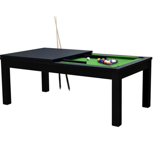 Rendez Vous Deco Table de Billard rectangulaire convertible noire tapis vert