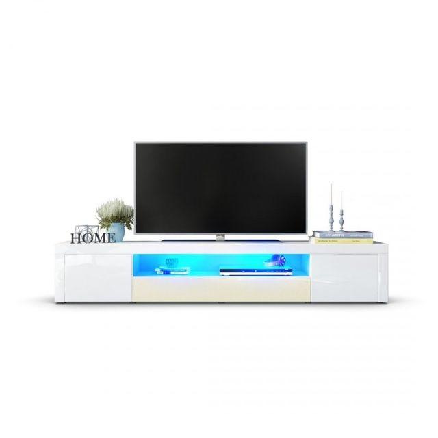 Mpc Meuble tv moderne laqué blanc et crème 200 cm avec led