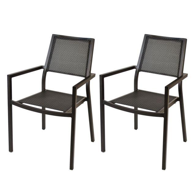 rendez vous deco fauteuil roma taupe lot de 2 pas cher achat vente chaises de jardin. Black Bedroom Furniture Sets. Home Design Ideas