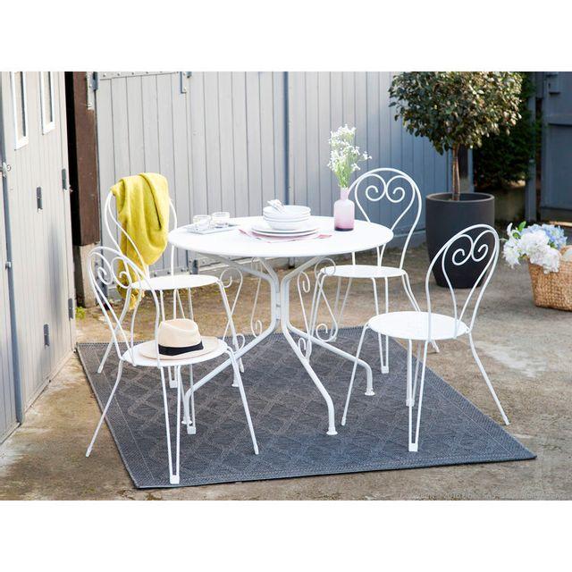 Mathilde Et Pauline - Salon de jardin 4 places: table ronde en acier ...