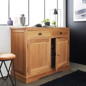 bois dessus bois dessous buffet en teck brut qualite grade a 2 portes 2 tiroirs pas cher. Black Bedroom Furniture Sets. Home Design Ideas