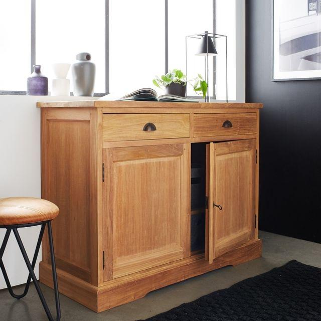bois dessus bois dessous buffet en bois de teck 2 portes 2 tiroirs pas cher achat vente. Black Bedroom Furniture Sets. Home Design Ideas