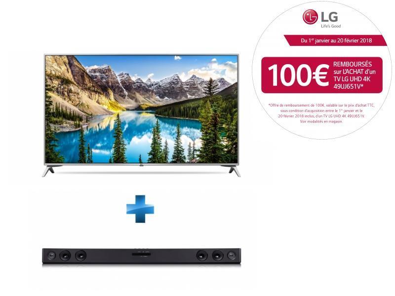 TV LED 49'' 123cm - 49UJ651V + Barre de son 2.1 - SJ3