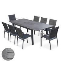 Salon de jardin Chicago aluwood effet bois vieilli Gris foncé avec table  extensible à rallonge 175/245cm et 8 assises en textilène gris foncé chiné