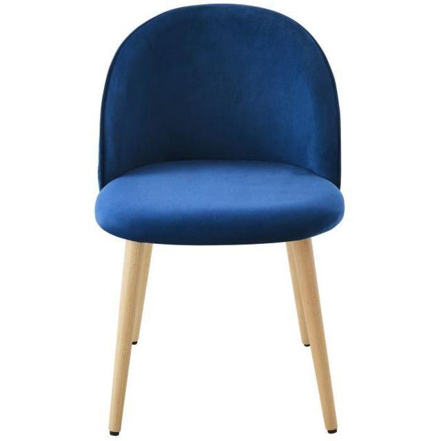 Generique Chaise Macaron Chaise De Salle A Manger Velours Bleu