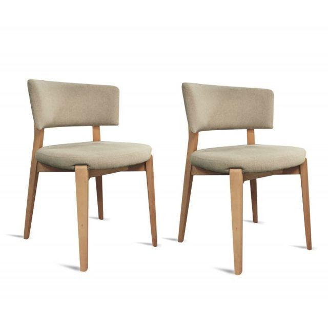 Meubletmoi Lot 2 chaises tissu gris beige Pretty pas