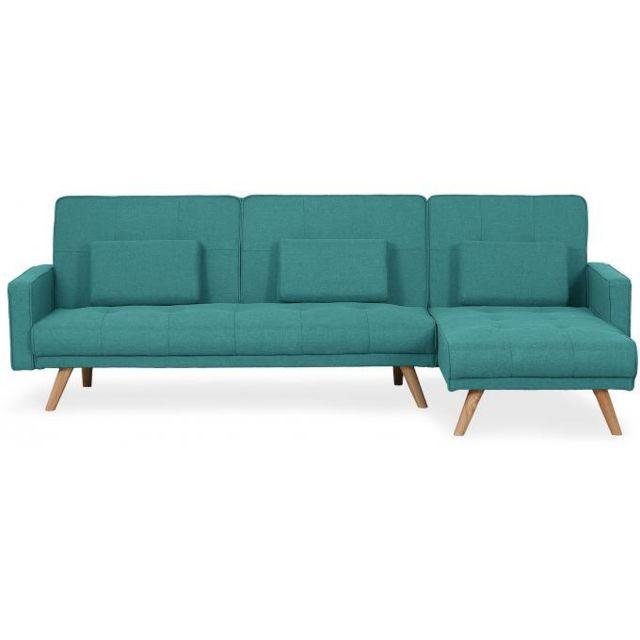 Declikdeco Parfait pour votre espace détente, le Canapé D'Angle Scandinave Convertible Bleu Vert Bilmont saura vous combler. L'asso
