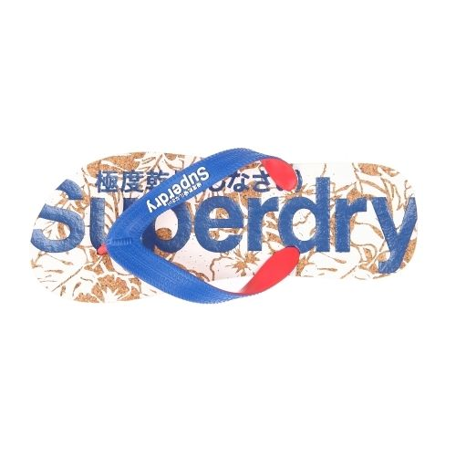 Superdry - Tongs Cork Flip Flop effet liège floquées en blanc et bleu électrique