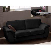 Linea Sofa - Canapé 3 places convertible cuir supérieur Salerne - cuir italien - Noir