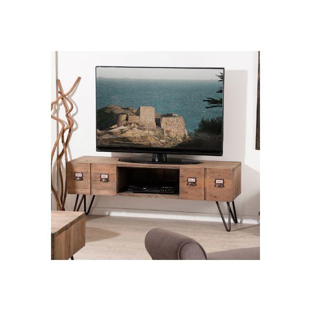 Meuble tv 2 tiroirs Industriel