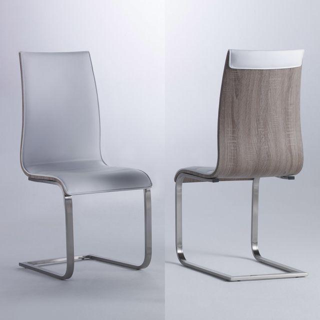 Marque Generique Chaise en polyuréthane et bois avec pieds acier - lot de 2 Crocus - Blanc