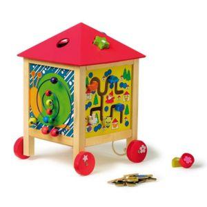 Cube d 39 apprentissage sur roulette coffre jouet en bois - Coffre a jouet roulette ...