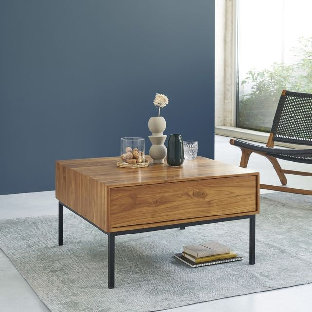 Bois Dessus Bois Dessous Table basse en bois de teck et métal 2 tiroirs 70