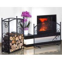 Farm - Mdlt - Ensemble porte bûches rectangulaire 90x60x25 cm et écran de cheminée forme arrondi 100x72x15 cm en acier noir