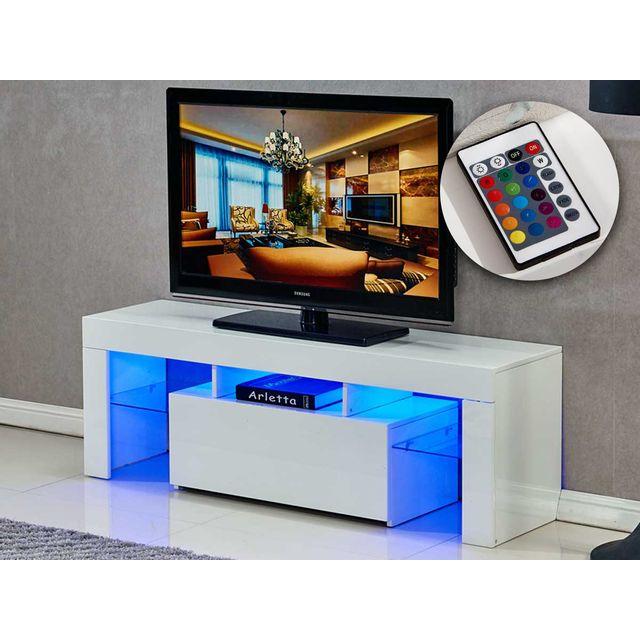 HABITAT ET JARDIN MEUBLE TV LED BORDA - 130 X 34 X 45 CM - BLANC LAQ